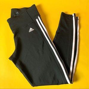 {ADIDAS} Black & White Striped Climalite Leggings